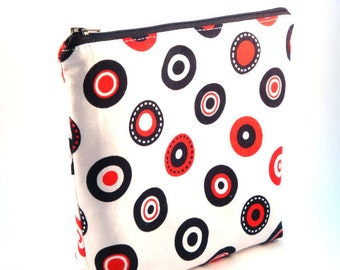 Large Flat Bottomed Zippered Pouch- Black and Red Polka Dots