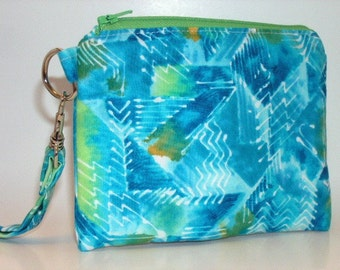Zippered Wristlet with Detachable Strap-Green and Blue Batik