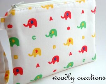 Zippered Wristlet-Japanese Fabric-Elephants