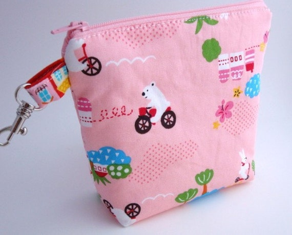 Flat Bottomed Zippered Pouch with Swivel Hook-Imported Japanese Fabric