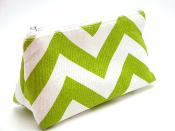 Flat Bottomed Zippered Pouch-Green and White Chevron Fabric