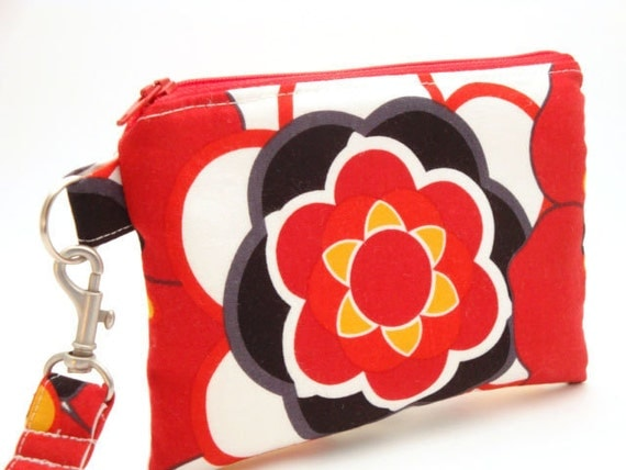 Zippered Wristlet with Detachable Wrist Strap-Alexander Henry Kleo Fabric