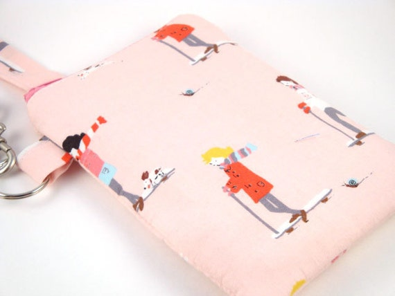 Padded Gadget Case for iPod Touch, iPhone4 or Camera- Scooters in Pink