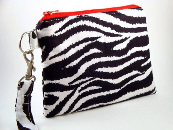 Zippered Wristlet with Detachable Wrist Strap-Zebra Print
