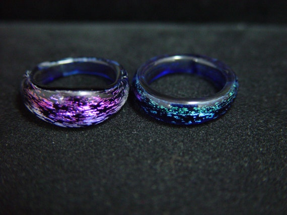 Boro Glass Rings Dichroic Lot of 2 Sz. 6 1/2 and 6 3/4 -Dan Rushin (32)