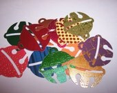 Embellishments hand punched 12 gold foil paper Christmas ornaments