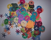 Card making/scrap booking embellishments hand punched 50  Bright Sand dollars and star fish