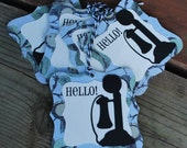 HELLO ..set of 6 tags...blue, black and cream...telephone