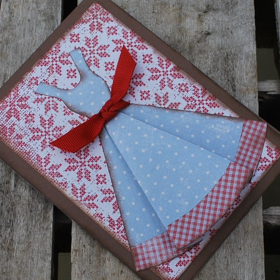 Stitched dress card and envelope in blue and red