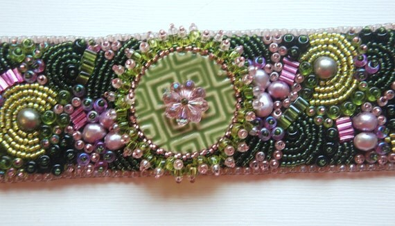 Monet's Garden - Bead Embroidery Cuff