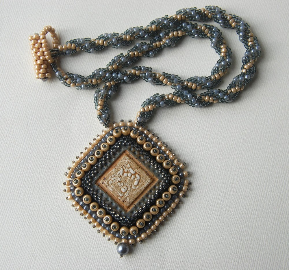 Ghost bead embroidery pendant and spiral rope necklace