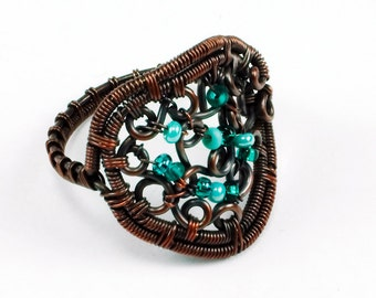 Copper and Mint Green Glass Beaded Scrolls Ring - CLEARANCE