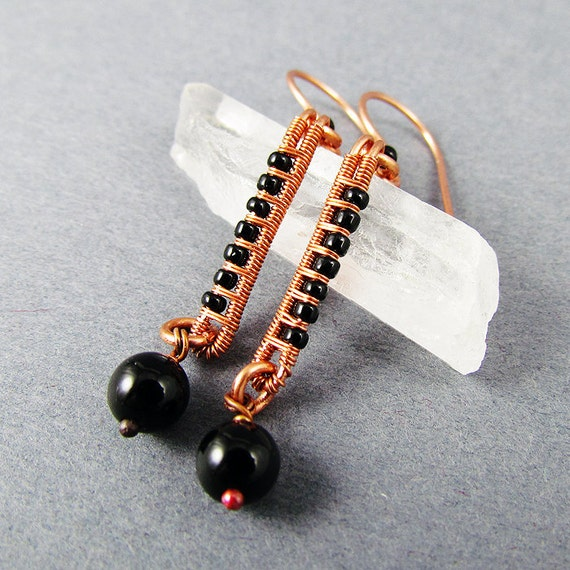 Onyx, Glass and Copper Earrings - CLEARANCE