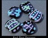 RDD - Lavender Mint Lampwork Squeeze Beads (5) - SRA