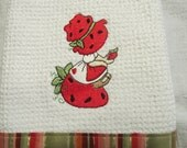 Kitchen Towel Sunbonnet Sitting on Strawberry  Honeycomb Microfiber EMBROIDERED