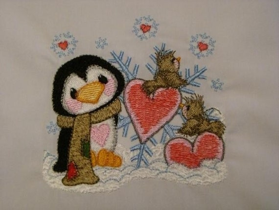 Embroidered Pillowcase WINTER HEARTFLAKE PENGUIN AND FRIENDS