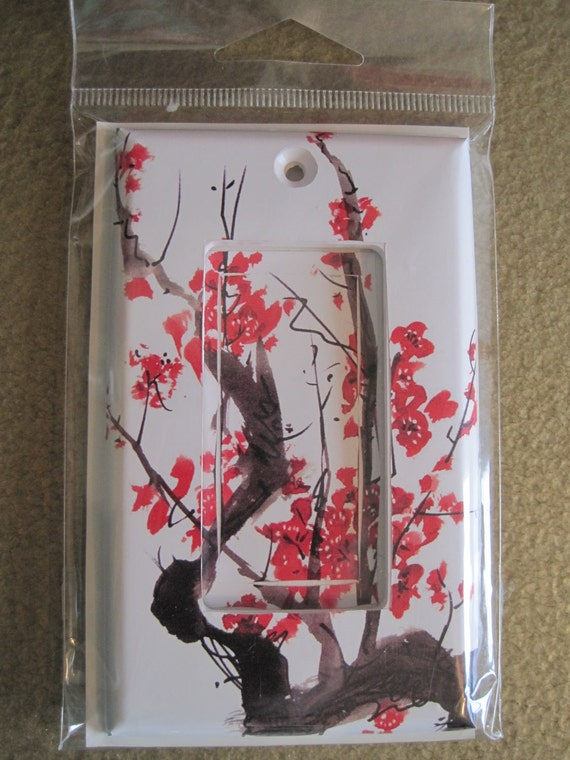 Red Cherry Tree Blossoms Light Switch Cover Single Decora