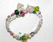 Custom 4 Name Bracelet Mommy Grandma Boutique 2 Strand Lampwork