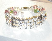 Custom Name Bracelet Mom Mommy Mother's Grandma Birthday  3 Three Strand letters Personalize