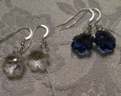 Crystal and Sterling Silver Snowflake Earrings Black Blue or Clear