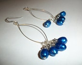 Beautiful Blue Fresh Water Pearls and Sterling Silver Earrings