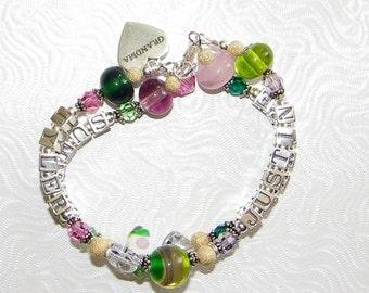 Custom 4 Name Bracelet Mommy Grandma Boutique 2 Strand Lampwork Personalized Children
