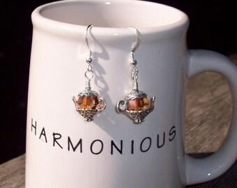Coffee or Tea   -  Swarovski Crystal Earrings and Sterling Silver