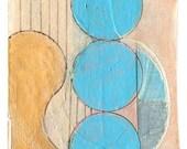 """Mini Original Art Collage - """"Blue Spheres"""" ACEO"""