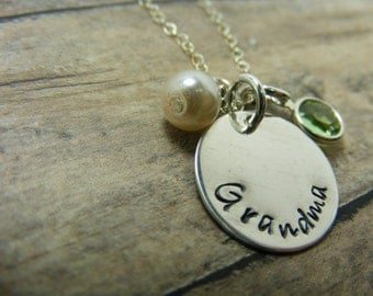 Hand stamped jewelry-personalized necklace-Sterling silver 1/2 inc disc with two charms necklace