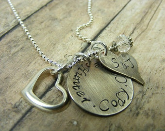 Hand stamped-personalized- sterlingsilver-necklace-antiqued heart