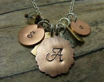 Hand stamped-personalized- sterlingsilver-necklace-antiqued-brass-copper-many initial loves