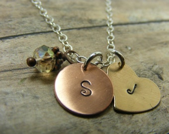 Hand stamped-personalized- sterling silver-necklace-antiqued-brass-copper- initial necklace