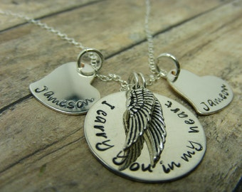 Handstamped jewelry-personalized jewelry- Remembrance necklace-I carry you in my heart times two