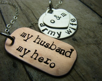 military necklace-personalized necklace-my husband my hero-army necklace-air force necklace-marines necklace-navy necklace-coast guard neckl