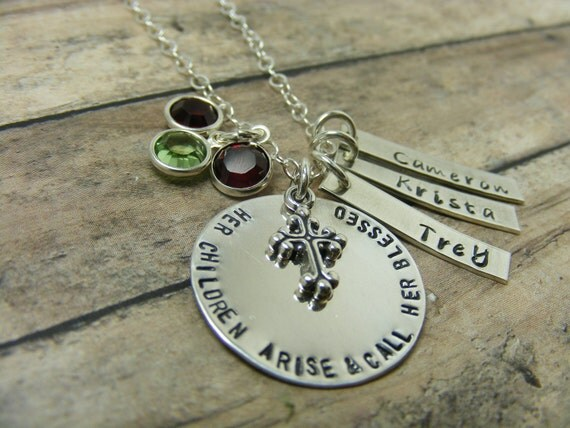 Hand stamped-personalized- necklace-religious-grandma-mom