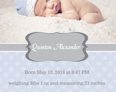 Birth Announcement, photo, modern, elegant,  printable, do it yourself, digital file
