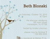 Printable Baby Shower Invitation, Cherry Blossom Sparrows - Do it yourself