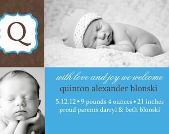 Birth Announcement -damask photo boxes, printable - 2 photos