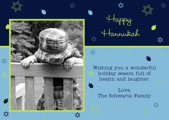 Printable Hannukah Card, Photo, Stars and Dreidels, Blue and Green