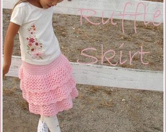 Triple ruffle skirt crochet pattern, girls skirt pattern, sizes 2T-9, crochet skirt pattern, crochet skirt, pdf pattern, ruffle skirt