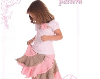 Boutique spiral skirt crochet pattern multi-sized 2T-10