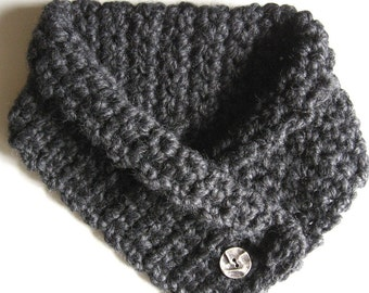Charcoal Neck Cozy Neck Warmer Cowl with Crushed Metal Button