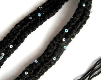 HeadBand - Accessory - Hair Accessory - Starry Night - Black - Silver Iridescent Sequins - Hair Style
