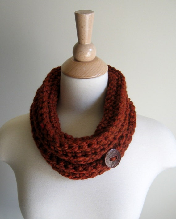 Harvest Spice Cowl, Neck Cuff, Neck Warmer with Oversize Cinnamon Spice Textured Button