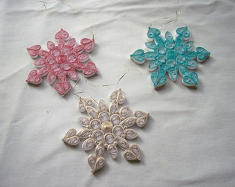 Colors of Christmas Quilled Snowflake Ornaments