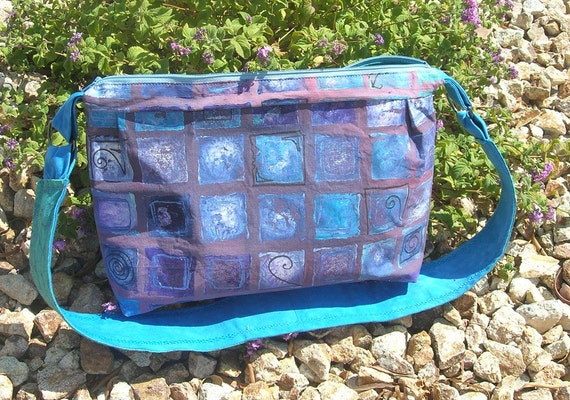 Storm's Fury Box purple and blue Shoulder handbag  An Etsy Team up
