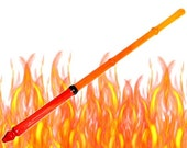 Magic Wand Fire Red, Orange Yellow Dyed Pine Wood Red Gem 10
