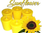 6 Sunflower Votive Candles in Sunny Yellow Spring Floral Scent