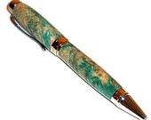 Wood Pen Teal Box Elder Cigar Style Gold and Chrome Accents 18 Handmade