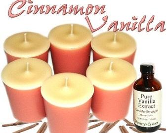 6 Cinnamon Vanilla Votive Candles Spicy Vanilla Scent